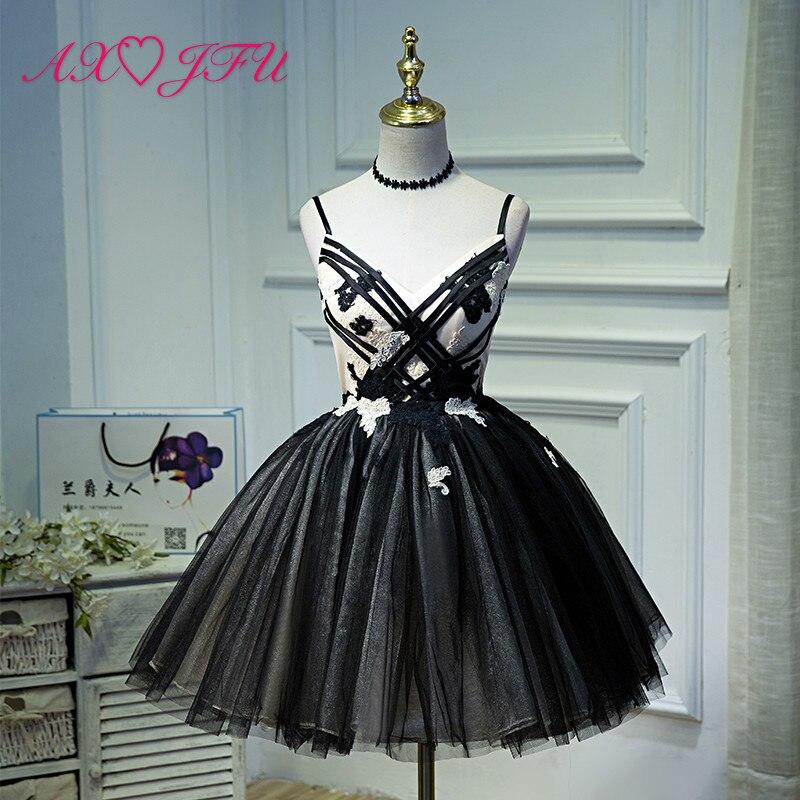 AXJFU Korean banquet short princess black evening dress, fluffy princess sweet new style fashionable evening dress