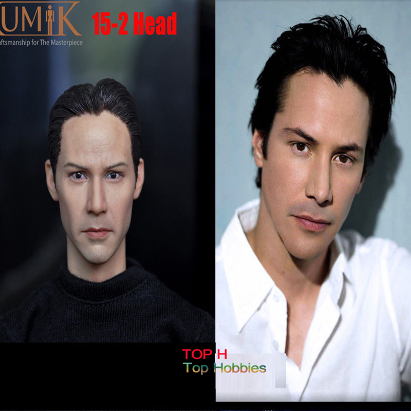 1/6 Scale Head Sculpt KUMIK 15-2 Keanu Reeves Matrix Neo For 12 Inch Phicen/ZCTOYS/Hot Toys /TTL Body Action Figure