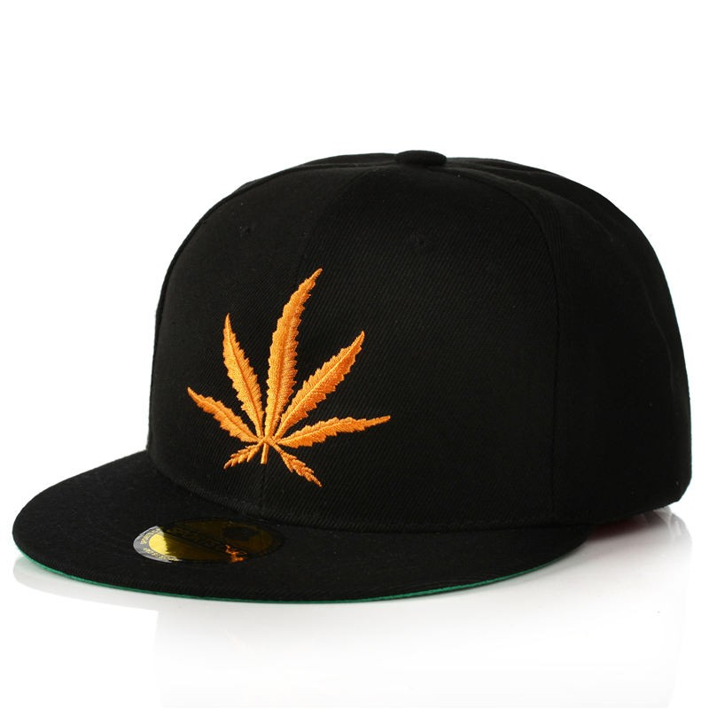Embroidered Gold Color Cannabis Leaf Snapback Cap