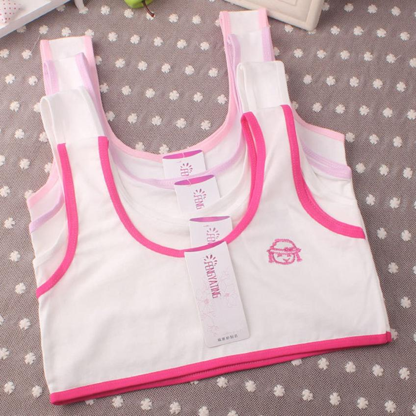 MUQGEW Vest Girls Underwear Cotton Children New for 10--14y E06 Bra Embroidery Sport-Undies