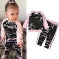 Criança Crianças Bebê Roupas de Menina de Moda Camuflagem T-shirt Calças 2 PCS Outfits Vestuário Set Crianças Esporte Terno Agasalho