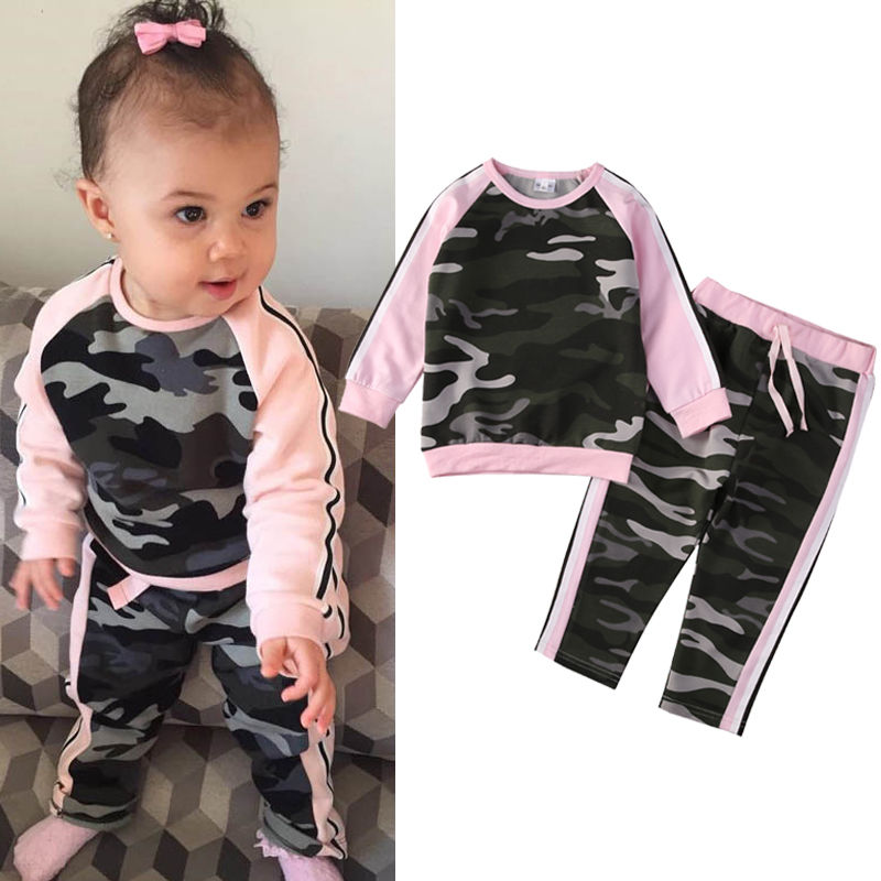 Toddler Kids Baby Girl Clothes Fashion Camouflage T-shirt Tops Pants 2PCS Outfits Clothing Set Sport Suit Children Tracksuit 2017 cute kids girl clothing set off shoulder lace white t shirt tops denim pant jeans 2pcs children clothes 2 7y