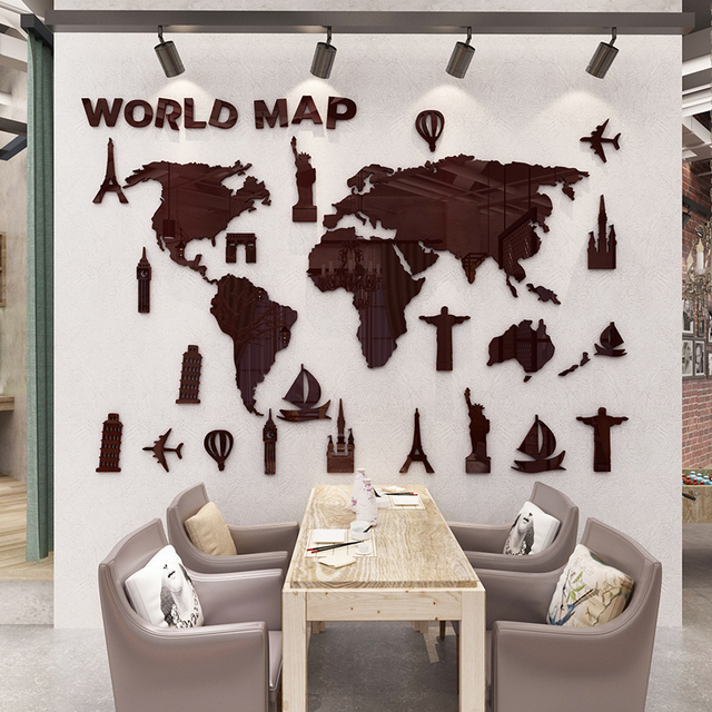 New World Map 3D Stereo Acrylic Wall Stickers Living Room Office Decorative  Sofa Background Wall Art
