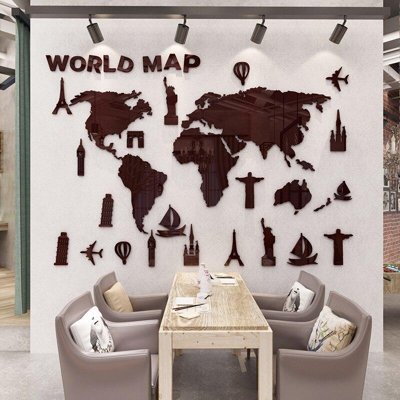 Nouveau monde carte 3D stéréo acrylique Stickers muraux salon bureau décoratif canapé fond mur Art autocollant Vintage décor à la maison