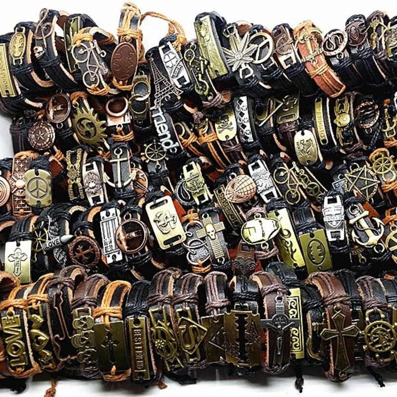 MIXMAX 100pcs Leather Bracelet Men Genuine Vintage Punk Rock Retro Bangle For Women Couple Pulsera Hombre Wholesale Lots Bulk