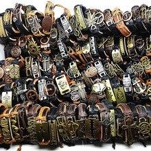 MIXMAX bracelet en cuir véritable pour hommes, 100 pièces, style rétro, punk, rock, rétro, pour femmes, couple, vente en gros, vrac