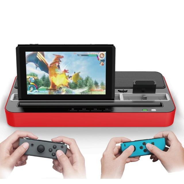 Base de carga multifunción Estación de enchufes, soporte con altavoz de Audio para Nintendo NS Switch/teléfono móvil/tabletas