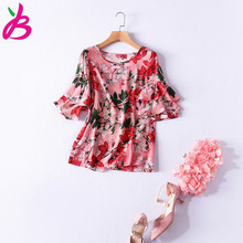 European style floral print flare sleeve chiffon shirt 2017 summer fashion woman's loose pullover elegant Blouse S-XL size for
