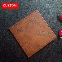 Factory Private Customzied Metal PU Leather Embossed Sewing On Clothes Private Label Metal Shoes Leather Label