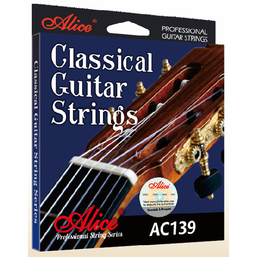 Alice AC139 Classical Guitar Strings titanium Nylon Silver-Plated 85/15 Bronze Wound 028 0285 inch savarez 510 cantiga series alliance cantiga ht classical guitar strings full set 510aj