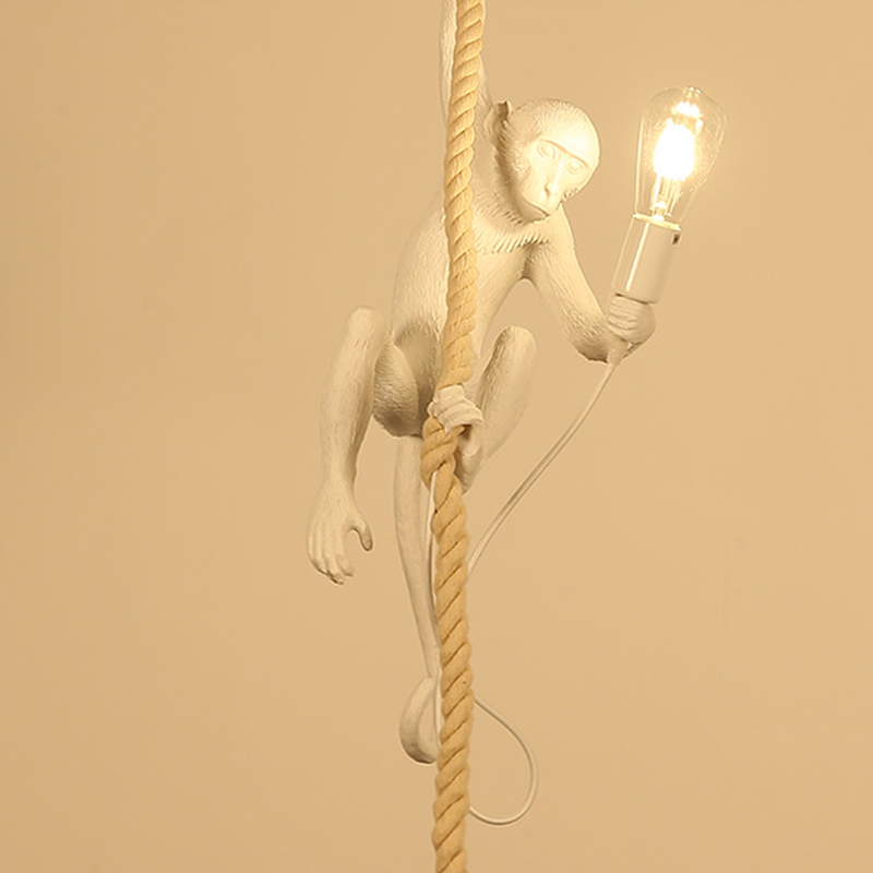Creative Modern Resin Monkey Loft Vintage Hemp Rope Pendant Light for Home dining room Bar Cafe Retro Hanging LED Lighting lamp american edison loft style rope retro pendant light fixtures for dining room iron hanging lamp vintage industrial lighting