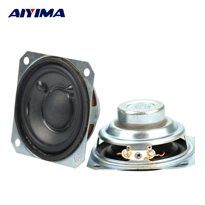 2Pcs 2Inch 8Ohms 3W Tweeter Audio Loudspeaker DIY Portable Neodymium Full Range Bookshelf Speakers
