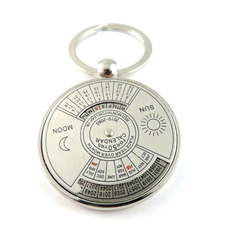 1PC Tradition Calendar Silver Plating Round Key Chain