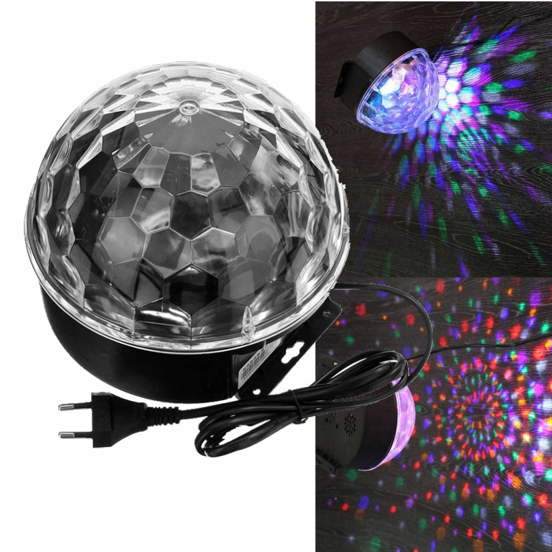 18W RGB LED Stage Lighting Effect 220V Voice Control Crystal Magic Ball Laser Stage Lighting Party Disco Club DJ Light Lamp 6w e27 led stage light rgb lamp with voice activated mp3 projector crystal magic ball rotating disco dj party stage lighting