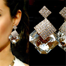 Women Big Drop Earrings Square Crystal Luxury Sparkling Formal Party  Pendant Earrings For Ladies Gifts Wholesale pendientes 5a7ee7be2e59