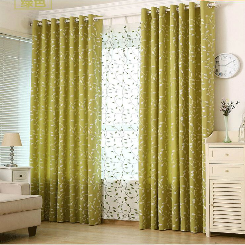 Foliage printing shade curtains for the living room curtains and bedroom and modern curtains and tulle custom