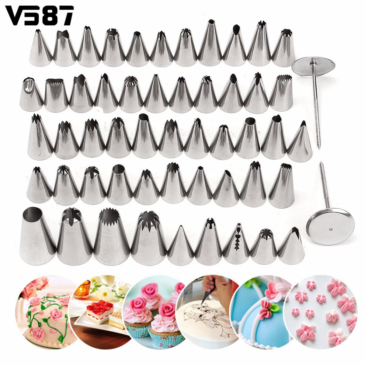 52Pcs lot Stainless Steel Icing Piping Nozzles Pastry Fondant Cake Decorating Sugarcraft Set kitchen Tools Confectionery