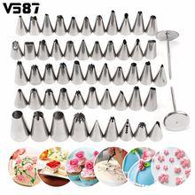 52 unids/lote acero inoxidable icing piping pasteles de los inyectores de pastelería fondant cake decorating sugarcraft set herramientas de cocina diy