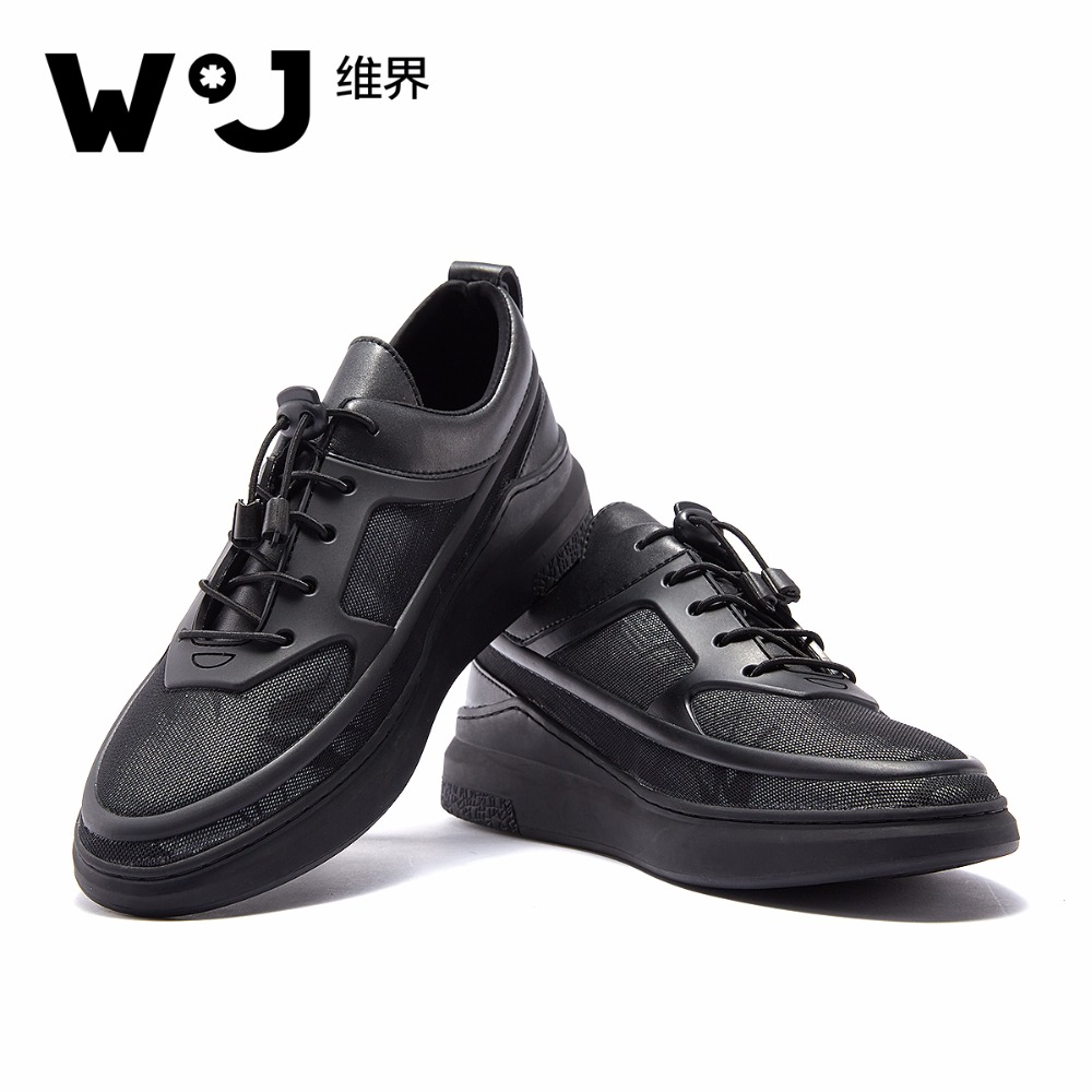 W.J Spring Summer Autumn Lace Up Casual Shoes Sandals Men  Breathable Air Mesh Black Sneakers Men Shoes the spring and summer men casual shoes men leather lace shoes soled breathable sneaker lightweight british black shoes men