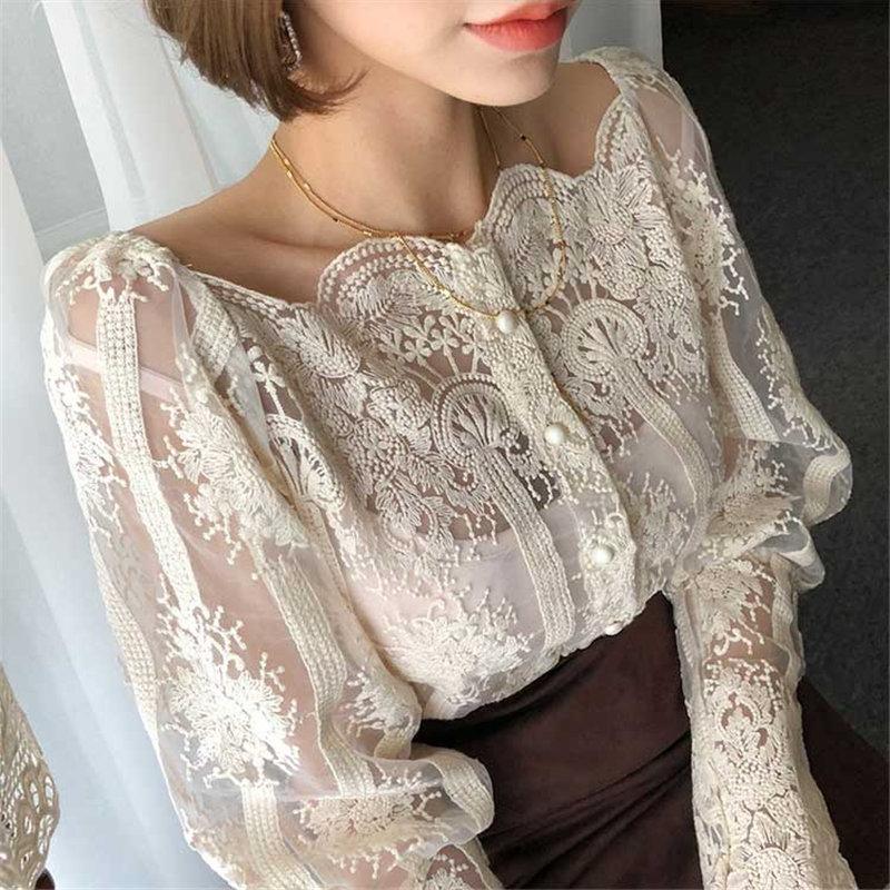 Blusa De Gratis El Calidad Tops Black Coreanas apricot Camisas Suelta Dulce Corte Alta Mujeres Casual Sexy Hzirip Primavera Vacaciones En 2019 Sudor Las Cuello 7qxwZqIdC