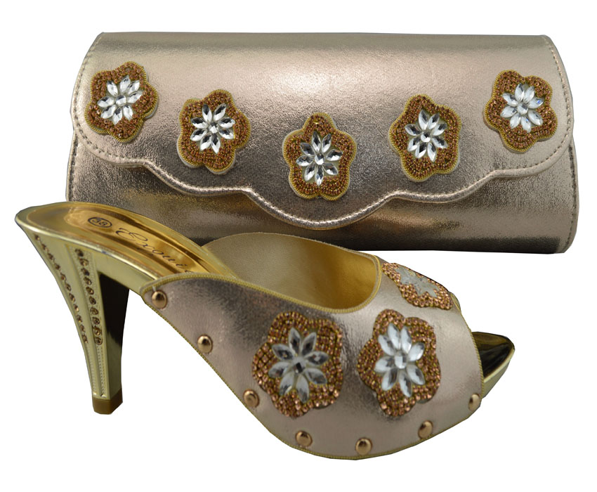 New Fashion African Women Matching Italian Shoe And Bag Set Decorated With Rhinestone Sky Blue In S Pumps From Shoes