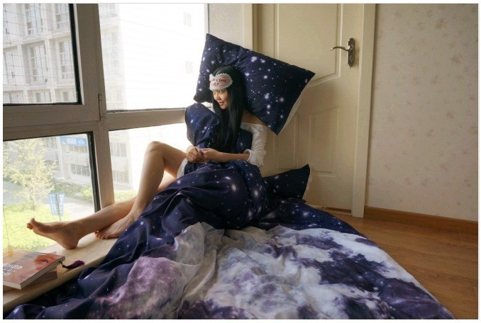 moon and stars bedding set king queen full size duvet cover bed in a bag bedspread bed skirt fitted sheet bedclothes quilt 4pcsin bedding sets from home