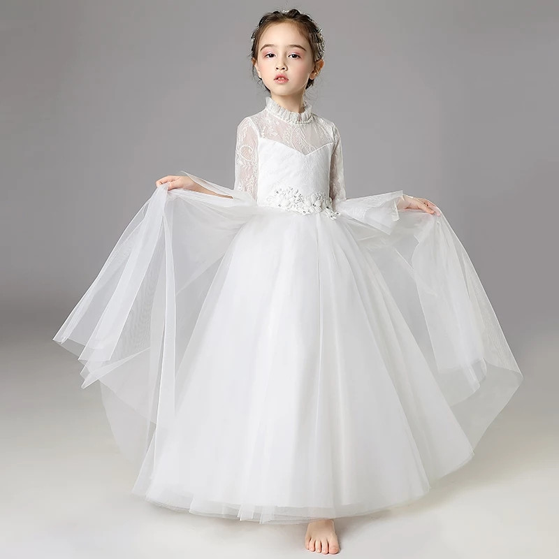 8f5fea151fa5b 2-15Y Kids Girls Long White Lace Flowers Party Ball Gown Prom Dresses  Children Princess Wedding Birthday First Communion Dress