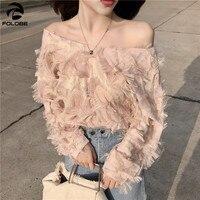 FOLOBE Korean Fashion Feather Patchwork Women Blouse 2018 Newly Sexy Slash neck Elegant Shirts Spring Female Blusas