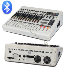 750W 750W 12 Channel Audio Amplifier Mixer Sound Mixing Console with 16 Stage Reverb Effects Bluetooth
