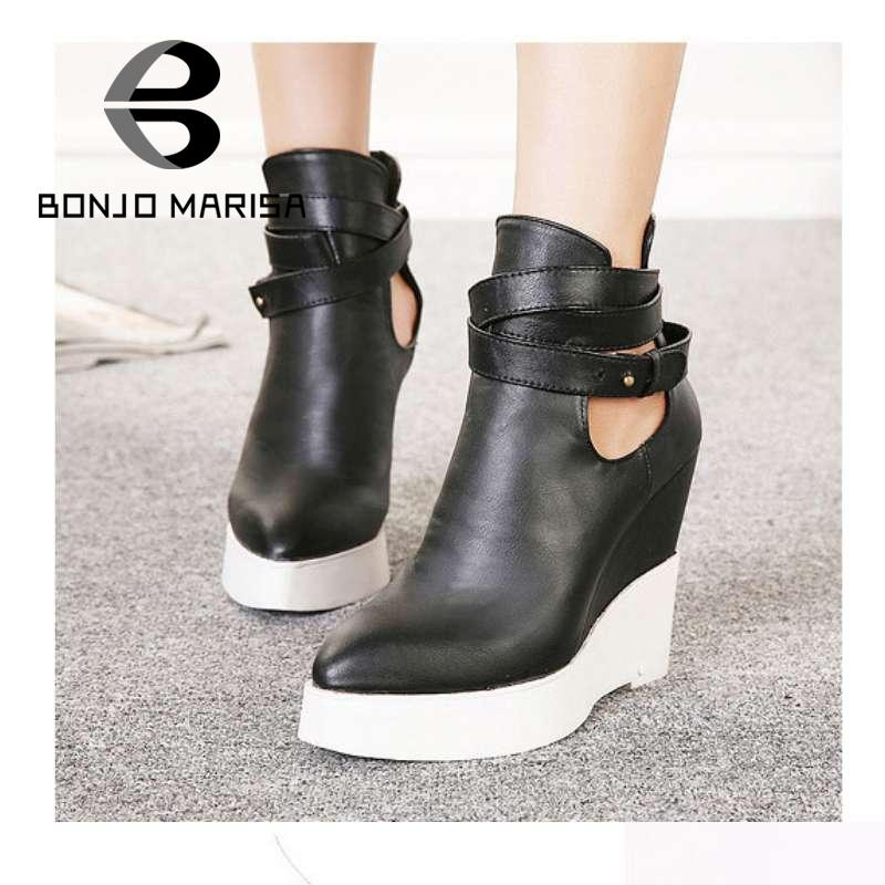 Point Toe Wedge Shoes 2015 New Fashion Women Shoes Buckle Platform Women Ankle Boots Ladies High Heels Euro Size 35-39