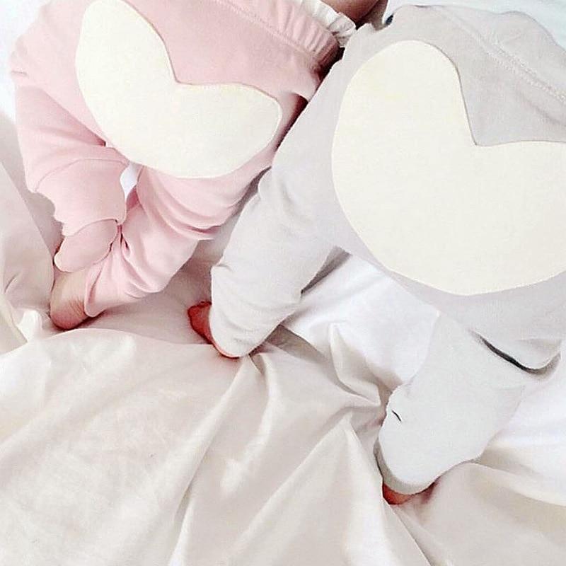 CN 0-2T baby boy broek Baby girl legging Katoen Love grijs & roze - Babykleding