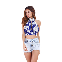 Sexy Blue Short Vests Women Printed Halter Backless Tops Femme Fashion Sleeveless Floral Crop Top Summer