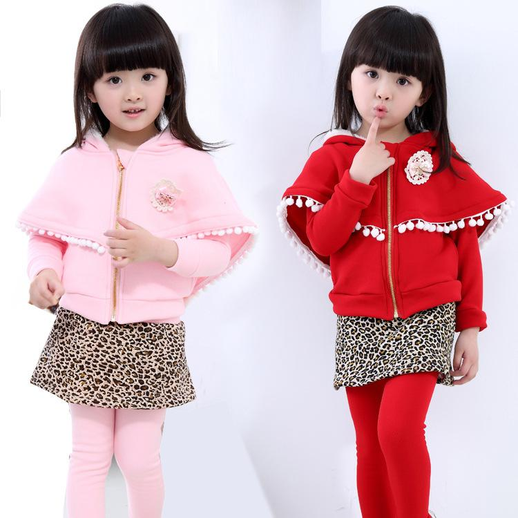 Autumn Winter Girl Suits 2017 New Style Long Sleeve Children Clothing Set Cloak Coat Leopard Skirt-pant 2pcs Warm Kids Clothes купить