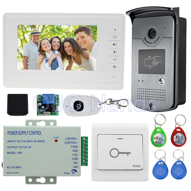 7'' wired color video door phone intercom system kit set with outdoor unit RFID card reader video doorbell IR camera+power
