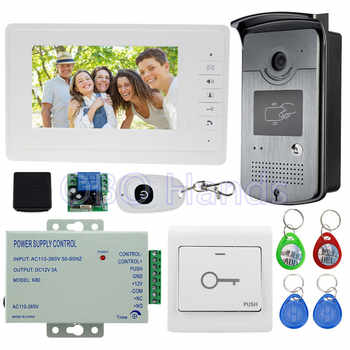 7\'\' wired color video door phone intercom system kit set with outdoor unit RFID card reader video doorbell IR camera+power - DISCOUNT ITEM  15 OFF Security & Protection