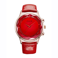 Quartz Watch for Women Leather Belt Texture Cutting Mirror Big Dial Luxury Casual Anniversary Birthday Gift Purple Red Blue 8010