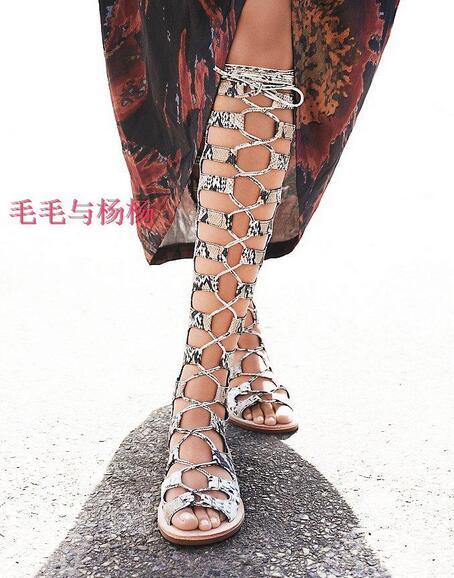 34 Toe Cuero Mujer Botas Elegante Zapatos Plana out Estampado Verano Vestido 4 Serpiente Gladiador Tamaño De Sandalia Peep Cut qttT8R