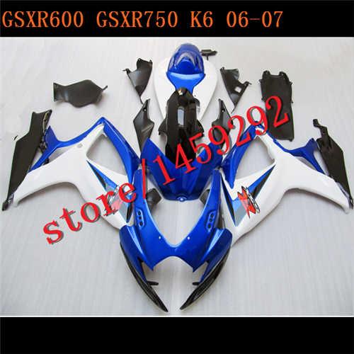 -ערכת חרטום לgsxr600 2006 2007 GSXR750 K6 K7 06 07 חלקי Fairing GSXR 600 750 06 07 לבן כחול BBF