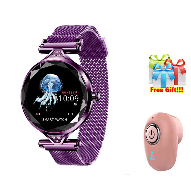 Smart bracelet earphone set smart bracelet women watch Rose Gold purple Smart wearable Device women smartband