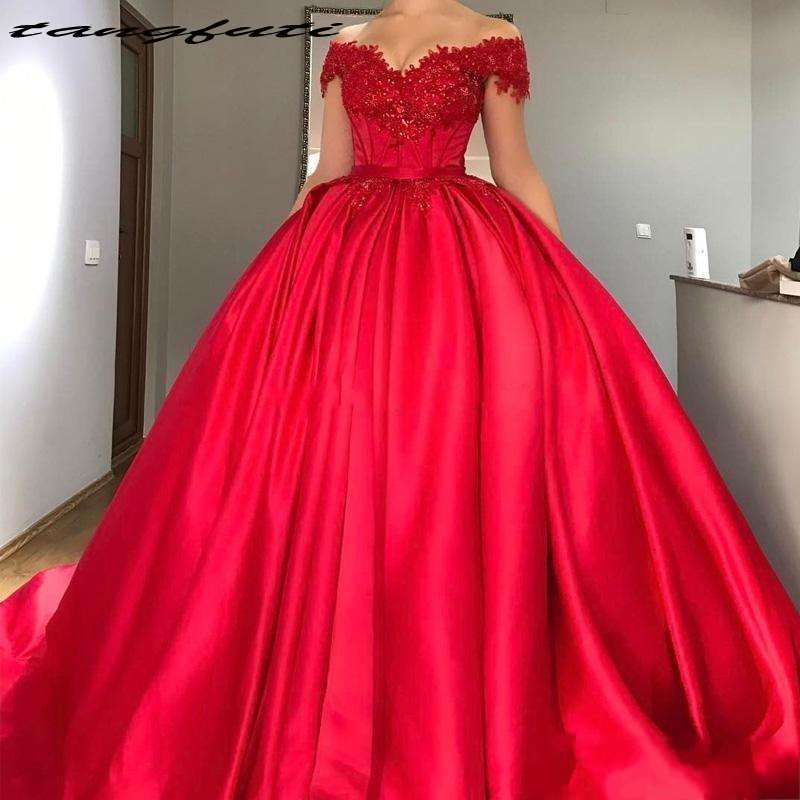 Sexy Off Shoulder Red Ball Gown Quinceanera Dresses Appliques Beaded Satin Prom Dresses vestidos de 15