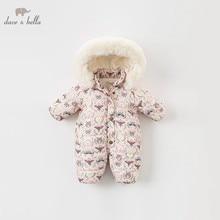 DBA7898 dave bella mùa đông em bé mới sinh ra cô gái in dài tay áo romper trẻ sơ sinh toddler jumpsuit trẻ em boutique romper 1 piece