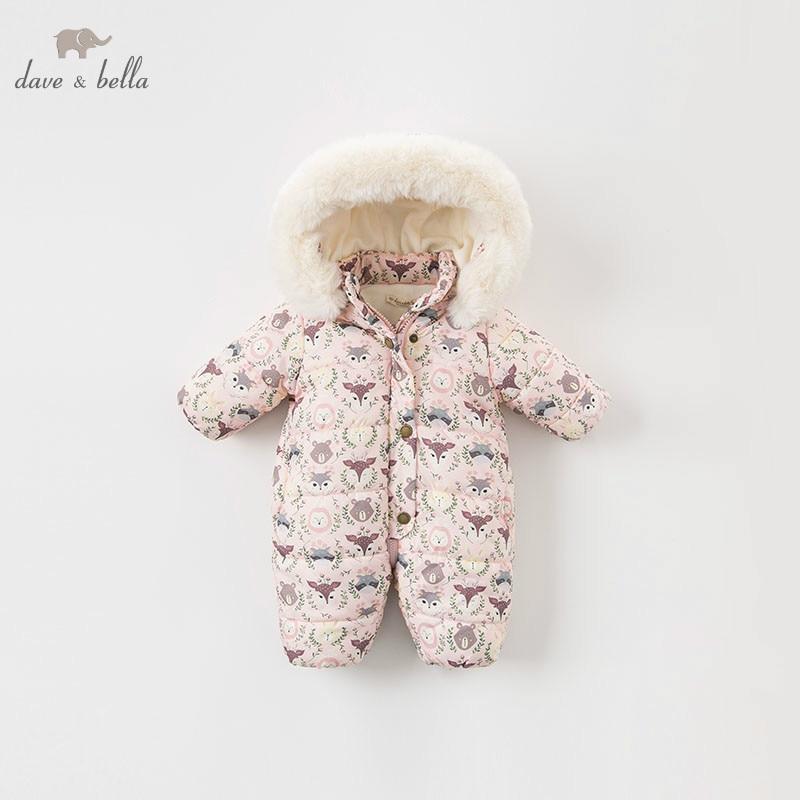 DBA7898 Dave Bella Winter New Born Baby Girl Print Long Sleeve Romper Infant Toddler Jumpsuit Children Boutique Romper 1 Piece