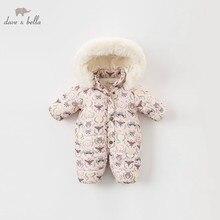DBA7898 dave bella/Зимний Детский комбинезон с длинными рукавами и принтом для новорожденных девочек, детский комбинезон ребенок, детский спортивный костюм, 1 шт.