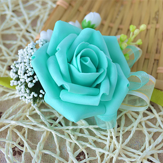 2016 hot Blue bride bridesmaid wrist corsage flower beautiful fresh roses custom ribbon