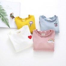 Плотная футболка для маленьких девочек Детские футболки с длинными рукавами Теплые Топы на осень и зиму