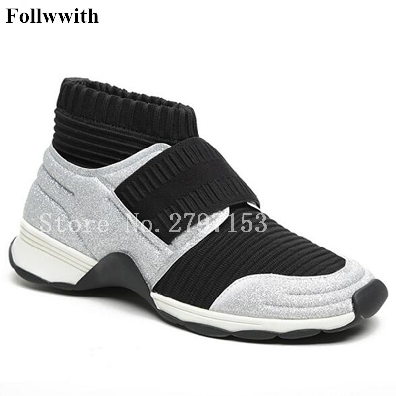 2018 Follwwith Shoes Women Sneakers Stretch Sock Ankle Boot Casual Sapatos Mixed Colors Short Booties Round Toe Flats Shoes craghoppers women s kiwi pro stretch short