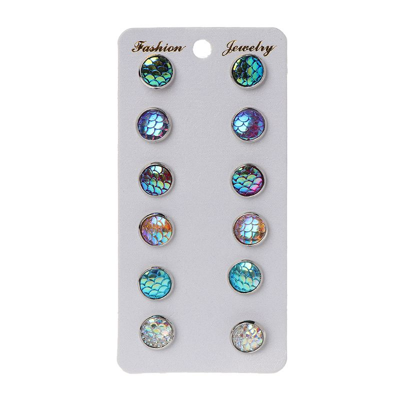 6 Pairs Beauty Fish Scale Round Crystal Assorted Stud Earrings Set Women Jewelry in Stud Earrings from Jewelry Accessories