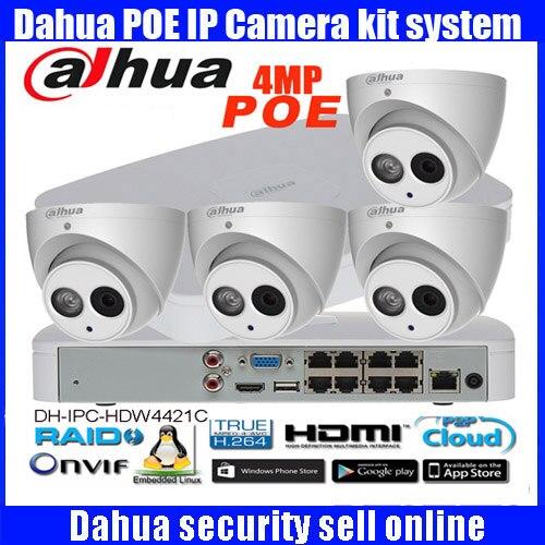 Original anglais H265 Dahua 4MP POE IP Caméra DH-IPC-HDW4431C-A Système de Sécurité Caméra Extérieure 8CH 1080 P NVR4108-8P-4KS2 Kit