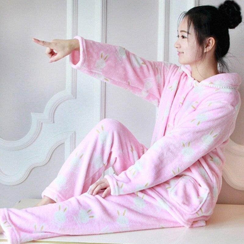 d13ded5e0e Dropwow Winter Pyjamas Women Polyester Full Trousers Lady Two Piece ...