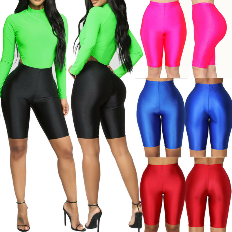 Summer Women Leggings Biker Shorts Dance Workout Sports Nylon Hot Shorts Fashion Fluorescent Color